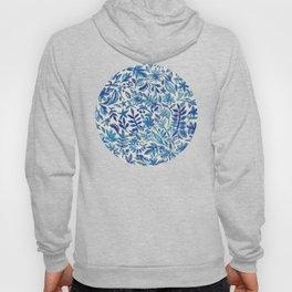 Floating Garden - a watercolor pattern in blue Hoody