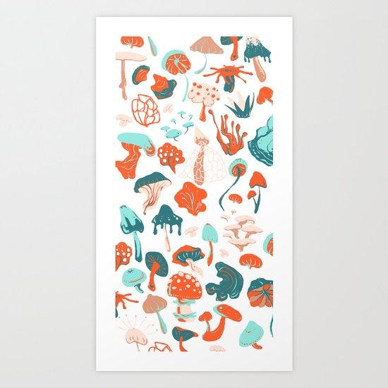 Mushroom Pattern (white) Art Print