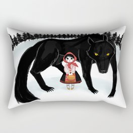 Little Red Riding Hood and the Big Bad Wolf Rectangular Pillow