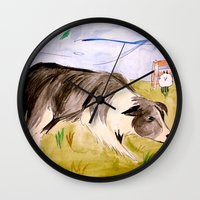 border collie Wall Clocks featuring Border Collie by Caballos of Colour