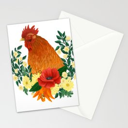Rooster with Floral Wreath Stationery Cards