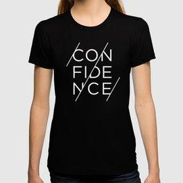 Confidence - white ink on black T-shirt