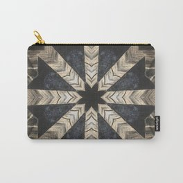 Canyon de Chelly // Black White Rustic Bohemian Star Geometric Quilt Hippy Vintage Boho Gypsy Folk Carry-All Pouch