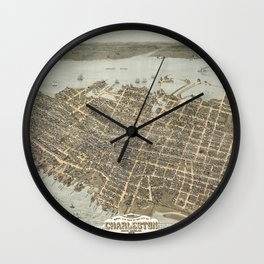 1872 Historical Bird's Eye View City Grid Map of Coastal Charleston, South Carolina  Wall Clock