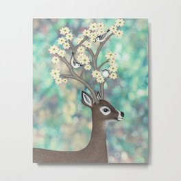 white tailed deer, white breasted nuthatches, & dogwood blossoms Metal Print