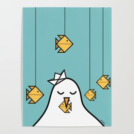 The Seagull and The Origami Fishes Poster