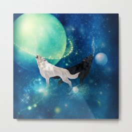 Awesome black and white wolf in the universe Metal Print
