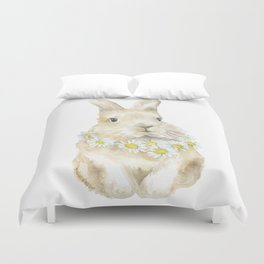 Bunny Rabbit with Daisy Wreath Watercolor Duvet Cover