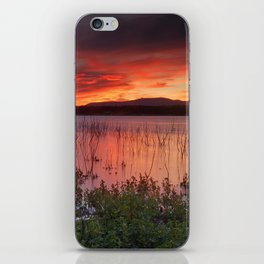 Red sunset at the lake... iPhone Skin
