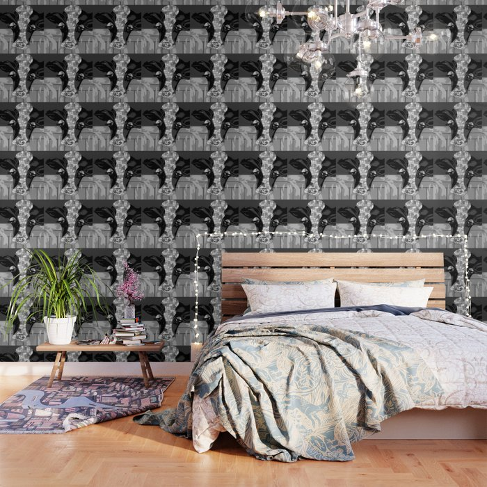Gray Patchwork Cow Wallpaper