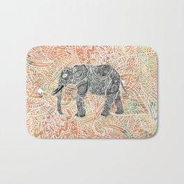 Tribal Paisley Elephant Colorful Henna Floral Pattern Bath Mat