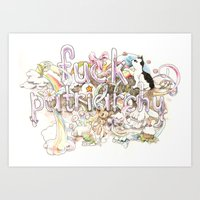 patriarchy Art Prints featuring Fuck Patriarchy by Beth Frey