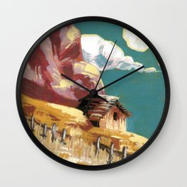 Little Cottage on a Cloudy Hill Wall Clock