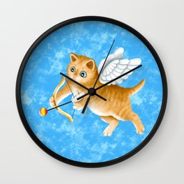 Ginger Cherub Kitten With a Bow and an Arrow Wall Clock