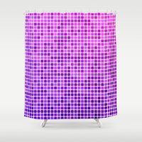 mosaic Shower Curtains featuring Pink purple mosaic by David Zydd