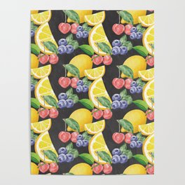 Fruits on Chalkboard Poster