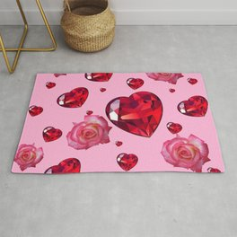 PINK  ART RAINING ROSES RUBY RED VALENTINES HEARTS Rug