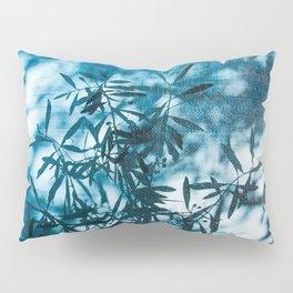 Olive tree leaves silhouette summer blue Pillow Sham