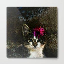 Kitten With Flower Portrait Metal Print