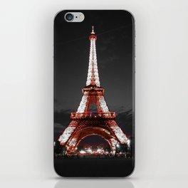 Paris Eiffel Tower Pink Night iPhone Skin