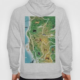 California vintage map hand drawn illustration Hoody