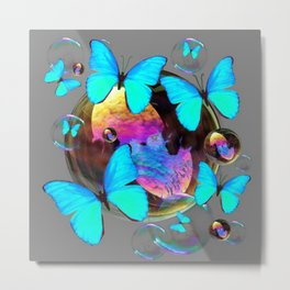 SURREAL NEON BLUE BUTTERFLIES  & SOAP BUBBLES GREY Metal Print