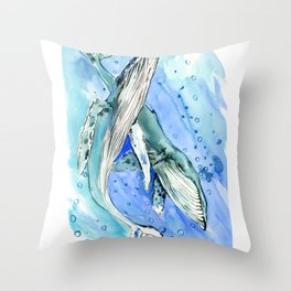 Humpback Whales, two whales ocean underwater scene beach Throw Pillow