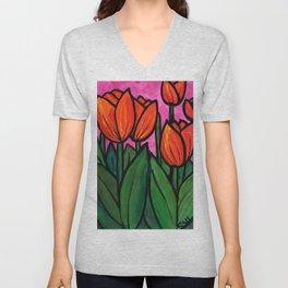 Tulips at Sunset Unisex V-Neck