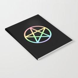 Rainbow Pentacle on Black Notebook