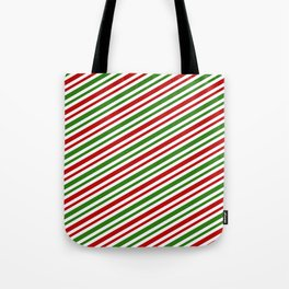 Festive, Christmas-Themed Red, White, and Green Colored Lines/Stripes Pattern Tote Bag