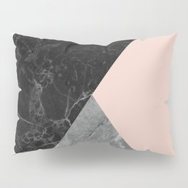 Black and White Marbles and Pantone Pale Dogwood Color Pillow Sham
