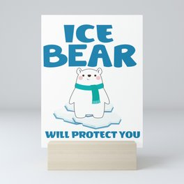 ice bear eisbär will protect you want to protect Mini Art Print