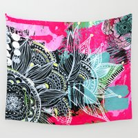 alisa burke Wall Tapestries featuring pink and black by Alisa Burke