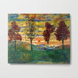 Classical Masterpiece 'Four trees - Quattro alberi' by Egon Schiele Metal Print