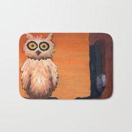Owl in an Oak Bath Mat