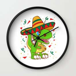 "Mexican themed Top Garment Apparel ""Dinosaur Dino T-rex Tyrannosaurus"" T-shirt Design Mexico Wall Clock"