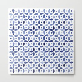 Imperfect Geometry Blue Petal Grid Metal Print