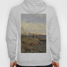 Hans Gude Painting -  Fiskerne Kommer P Land 1878  | Reproduction | Norwegian Art Hoody
