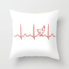 CHICKEN HEARTBEAT Throw Pillow