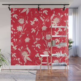 Festive Christmas Bright Red Passion Flowers Wall Mural