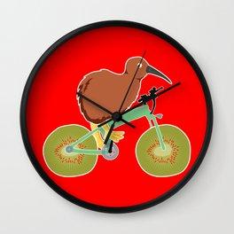 Kiwi On Kiwi Bicycle Funny New Zealand Gift Wall Clock