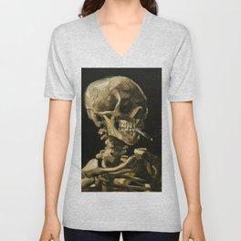 Skull Of A Skeleton With Burning Cigarette Unisex V-Neck
