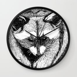 Magpie and Raccoon Wall Clock