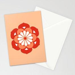 Lotus Flower Mandala, Pastel Orange and Mandarin Stationery Cards