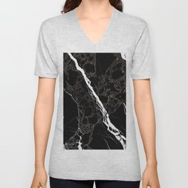 Abstract black white gray modern marble Unisex V-Neck