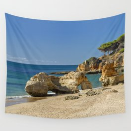 rock formation on Olhos d'Agua beach, Portugal Wall Tapestry