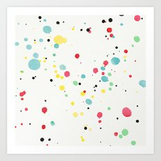 Watercolor splatters on white leather Art Print