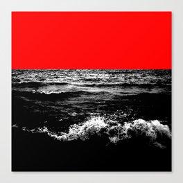 Black Wave w/Electric Red Horizon Canvas Print