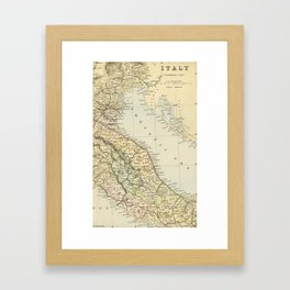 Retro & Vintage Map of Northern Italy Framed Art Print