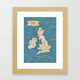 Vintage British Isles Map Framed Art Print